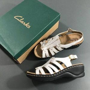 Clarks Lexi Marigold White Wedge Sandals w/ Box, 6
